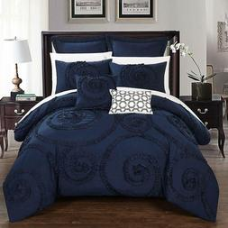 Chic Home CS2223-AN 7 Piece Rosalia Floral Ruffled Etched Em