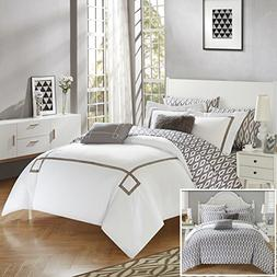 Chic Home 9 Piece Trace Contemporary Greek Key Embroidered R