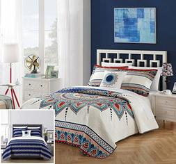 Chic Home 4 Piece Cypress Reversible Quilt Cover Set, Queen,