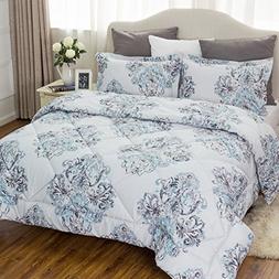 Damask Bedding Comforter Sets King size 102x90 Grey Bedroom