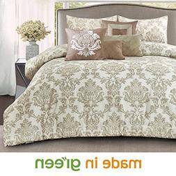 Wonder-Home 7-pc. Damask Golden Brown Comforter Set, OEKO-TE