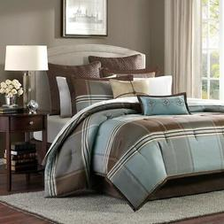 Home Essence Daniel 8-Piece Comforter Set, Blue/Brown