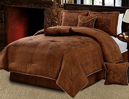 Grand Linen 7 Piece Dark Brown Embossed Faux Suede Paisley c