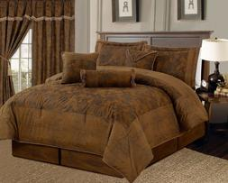 Dark Camel Brown Lavish Micro Suede Bed in a Bag KING Size C