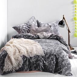 Dark Gray Duvet Cover Set, 100% Cotton Bedding, White Patter