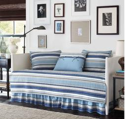 Daybed Bedding Set Comforter Twin Blue Striped Quilted Cover