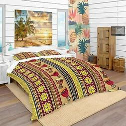 Designart 'African Drum Beckground' Tropical Bedding Set - D