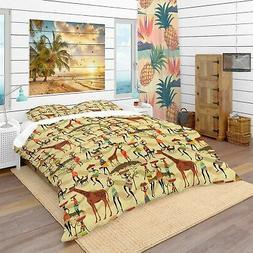 Designart 'Texture with African Women' Tropical Bedding Set