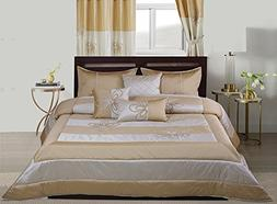 WPM Designer Collection Bedding Set 7 Piece Beige Cream/Gold