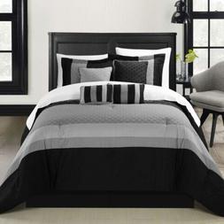 Chic Home Diamante 8 Piece Comforter Set, Queen, Black