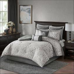 Madison Park 7 Piece Woven Jacquard Comforter Set - Gray - S