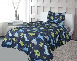 Dinosaur Blue Lime Green Printed Sheet Set With Pillowcase B