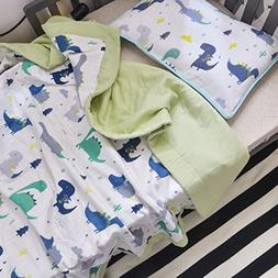 J-pinno Dinosaur Cute Muslin Quilt Blanket Bedding Coverlet