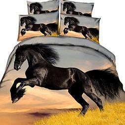HyUkoa Dinosaur/Wolf/Horse/Zebra/Dolphin Print Duvet Cover S