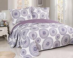 Vivinna Disperse Printing Purple Quilts King Size-3PCS Bedsp