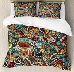 Ambesonne Doodle Duvet Cover Set Queen Size, Cinema Items Co