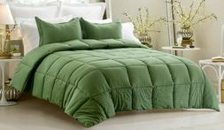 Down Alternative Comforter & Sheet Set Egyptian Cotton Moss