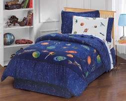 Dream Factory Outer Space Satellites Boys Comforter Set, Blu