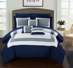 Chic Home CS1469 10 Piece Duke Patchwork Color Block Complet