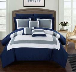 Duke Peach, White & Grey Queen 10 Piece Comforter Bed In A B