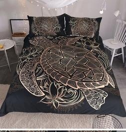 Duvet Comforter Cover 3 Piece Queen Size Set Black and Gold