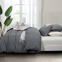 Seamour Duvet Cover, 100% Cotton Comforter 3-Piece Duvet Cov