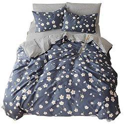 Duvet Cover Flower Printed 3 Piece 100% Cotton Bedding Set W