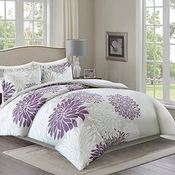 Comfort Spaces Duvet Cover King Size - Enya Purple and Gray
