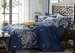 Navy Blue Duvet Cover Set, Gray Grey Floral Flowers Tree Lea