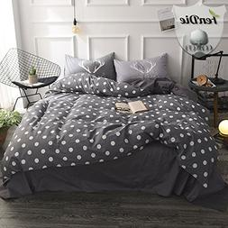 FenDie 3 Piece Duvet Cover Set with White Polka Dot Printed