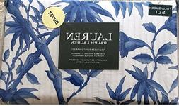 Ralph Lauren 3 Piece Duvet Cover Set Blue & White Vines Patt