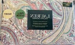 Ralph Lauren 3 Piece Duvet Cover Set Inked Paisley Reversibl