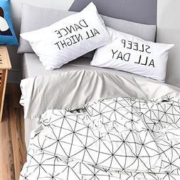 BuLuTu Diamond Grid Print Duvet Cover Twin Cotton White Grey