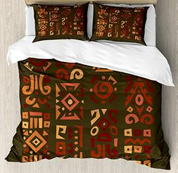 Ambesonne Earth Tones Duvet Cover Set King Size, Doodle Styl