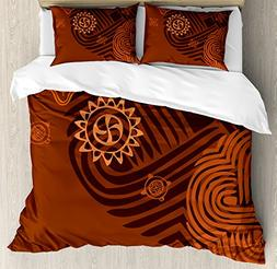 Ambesonne Earth Tones Duvet Cover Set Queen Size, Artistic E