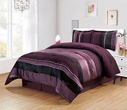 4 Piece Eggplant Purple / Black / Silver stripe Oversize Che