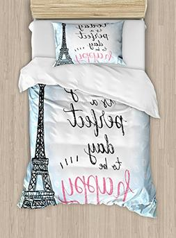 Ambesonne Eiffel Tower Duvet Cover Set Twin Size, Perfect Da