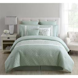 Elegant Green Embroidered Floral Quilted 10 pcs Comforter Ki