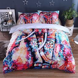 HomeBlove Elephant Print 3D Duvet Covers Bedding Sets Full/Q