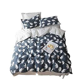 BuLuTu Elephant Print Kids Duvet Cover Sets Queen Cotton Rev