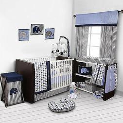 Elephants Crib Set Baby Nursery Blue Grey Boys10 Piece Bed