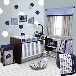 Bacati 10-Piece Elephants Nursery-in-A-Bag Crib Bedding Set