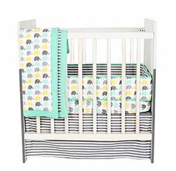 Bacati Elephants Unisex 3 Piece Portable Crib Bedding Set 10