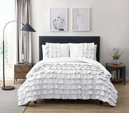 Chezmoi Collection Ella 3-Piece Waterfall Ruffle Comforter S