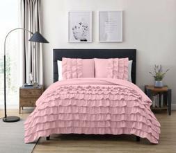 Chezmoi Collection Ella 3-Piece Waterfall Ruffle Comforter S