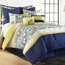 8 Piece Embroidered Paisley Themed Comforter Set Queen Size,