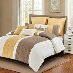 Wonder-Home 8 Piece Embroidered Yellow Comforter Set, Luxury