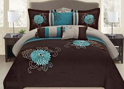 Fancy Linen Embroidery Bedding Brown Turquoise Comforter, Du
