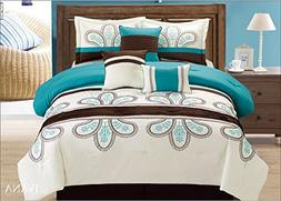 Fancy linen 7 Pc Embroidery Off White Turquoise Brown Comfor