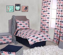 Bacati Emma Aztec 4 Piece Toddler Bedding Set, Coral/Mint/Na